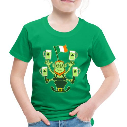 Leprechaun Juggling Beers and Irish Flag - Kids' Premium T-Shirt