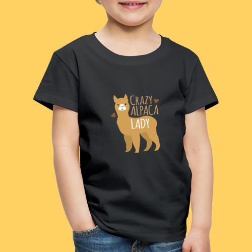 Crazy alpaca lady with love hearts - Kids' Premium T-Shirt