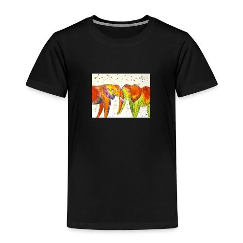 Colourful Elephants Kissing - Kids' Premium T-Shirt