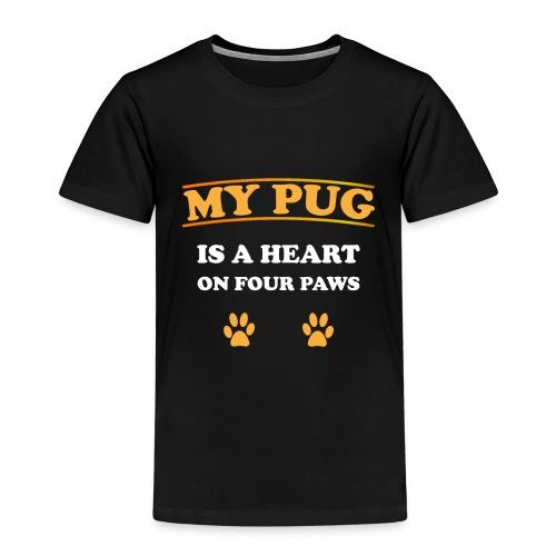My Pug is a heart on four paws   Mops Liebe Pfoten - Kinder Premium T-Shirt