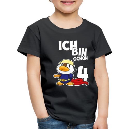 Stolze Feuerwehr Ente 4. Geburtstag Jungen Mädchen - Kinder Premium T-Shirt