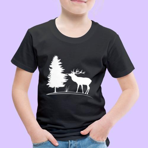 Hirsch, Geweih, Rehbock, Jagd, Wald, Baum, Wild - Kinder Premium T-Shirt