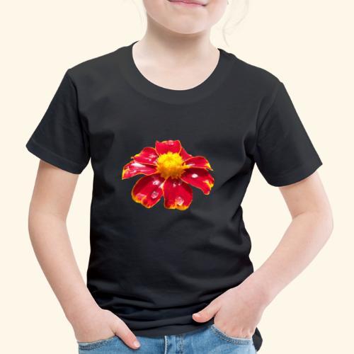 rote Ringelblume mit Regentropfen, Blume, Blüte - Kinder Premium T-Shirt