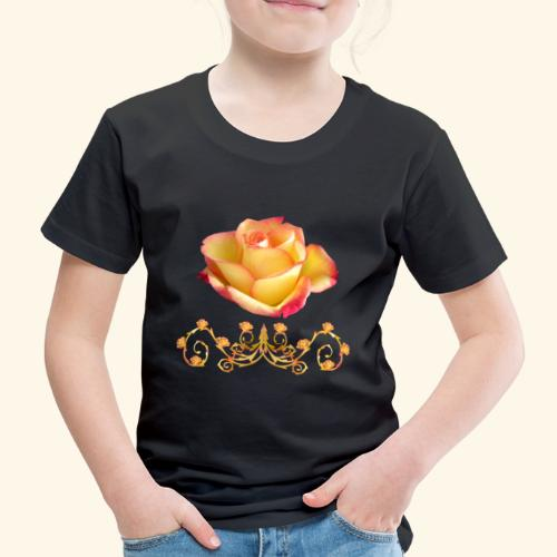 orange Rose, Ornament, Rosen, Blumen, Blüten, edel - Kinder Premium T-Shirt