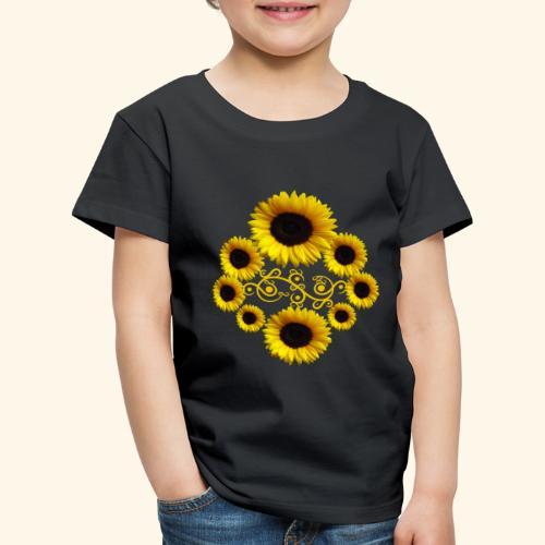Sonnenblumen mit Ornament, Sonnenblume, Blumen - Kinder Premium T-Shirt