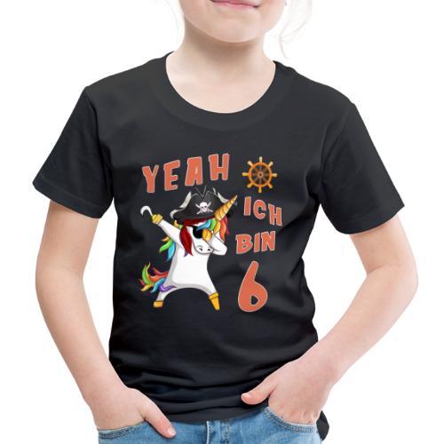 Pirat Einhorn Geburtstagsshirt 6 Jahre - Kinder Premium T-Shirt