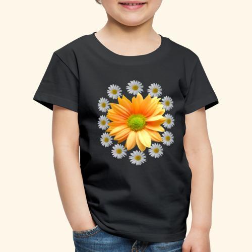 Margeriten mit einer orangen Chrysantheme, Blumen - Kinder Premium T-Shirt