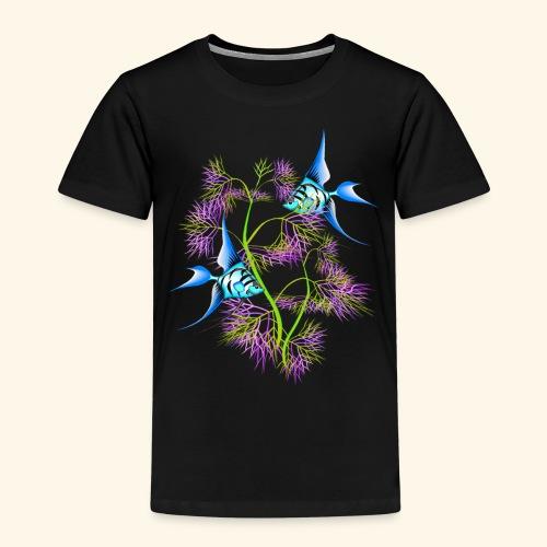 Tropical blue Fish Swimming around plants - Kids' Premium T-Shirt