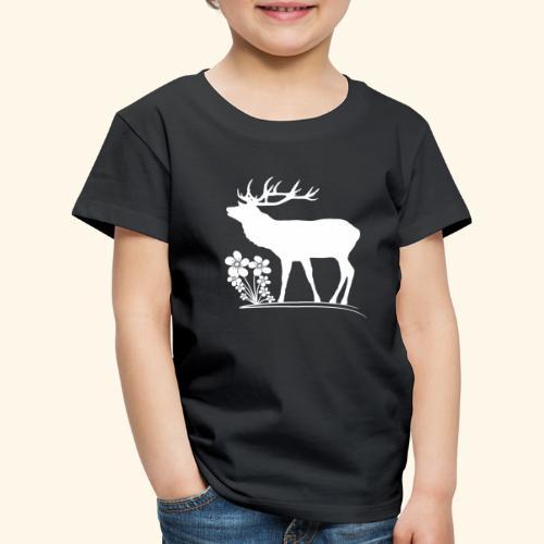 wilder Hirsch mit Blumen, Tiere, Reh, Hirsche - Kinder Premium T-Shirt