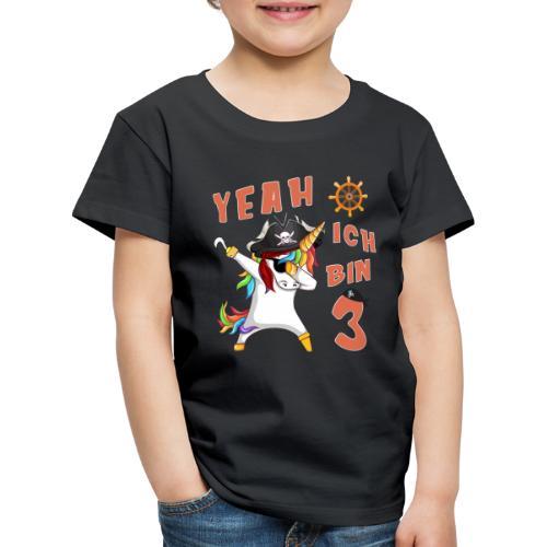 3 Jahre alt Geburtstag Junge Pirat Einhorn Party - Kinder Premium T-Shirt
