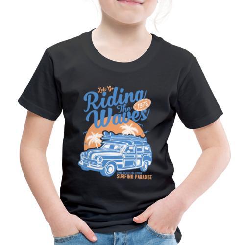 Ladies Surf Style T-shirt - Riding the Waves - Kids' Premium T-Shirt