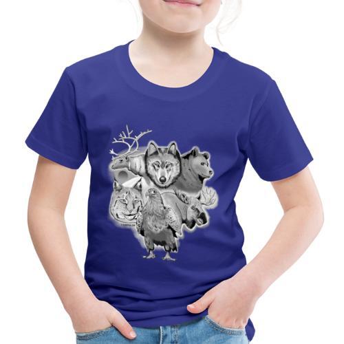 10-02 Susi, poro, karhu, ilves, kotka, hirvi-lahja - Lasten premium t-paita