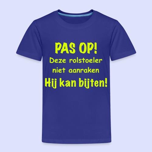 Pas op rolstoel gebruiker kan bijten - Kinderen Premium T-shirt