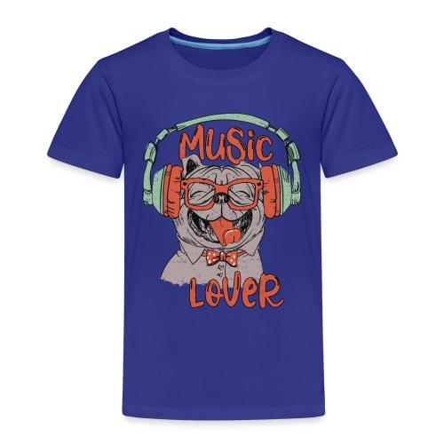 Music Lover - Happy Pug Dog Head Vintage style - Kids' Premium T-Shirt