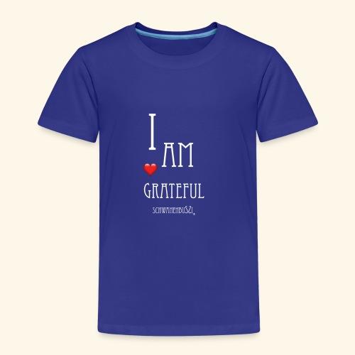T Shirt Druck I am grateful Schwanenbussi weiss - Kinder Premium T-Shirt