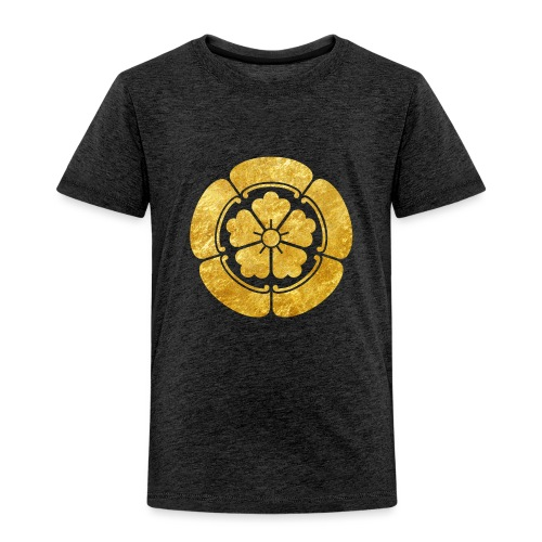 Oda Mon Japanese samurai clan faux gold on black - Kids' Premium T-Shirt