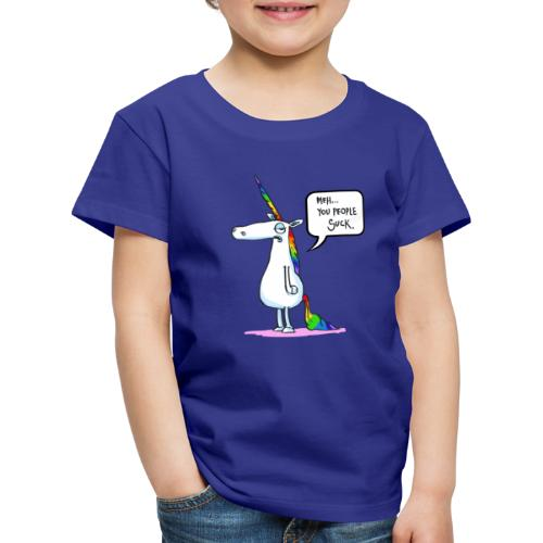 Unicorno Unimpressed Environmental Funny Cartoon - Maglietta Premium per bambini