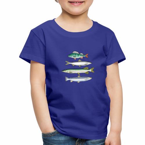 FOUR FISH - Ahven, siika, hauki ja taimen products - Lasten premium t-paita