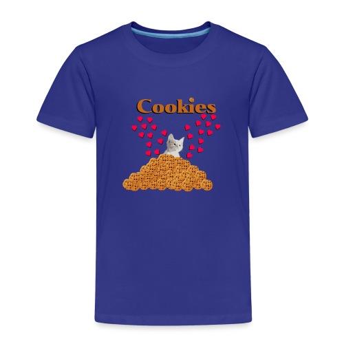 Cookies and cat Cat in biscuits heart - Kids' Premium T-Shirt