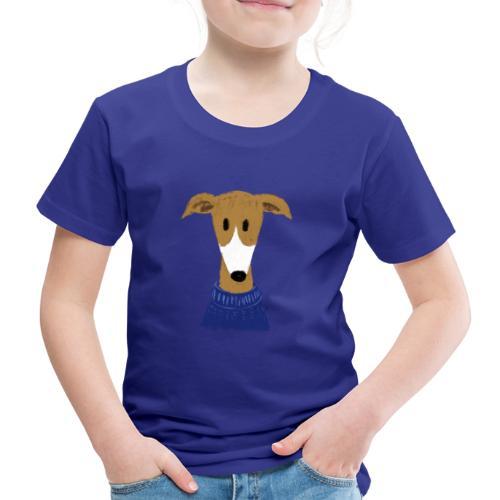 Windhund in blauem Pulli - Kinder Premium T-Shirt
