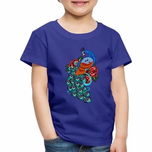 Farverig påfugl - Børne premium T-shirt