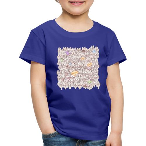 Funny cats posing in a meowing pattern - Kids' Premium T-Shirt