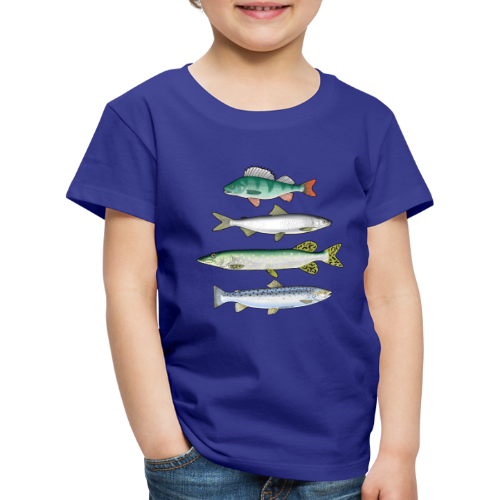 10-34 FOUR FISH - Ahven, siika, hauki ja taimen - Lasten premium t-paita