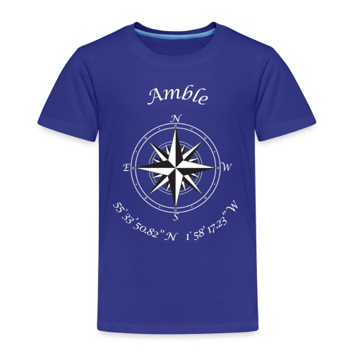 Amble, Northumberland. Compass (white) - Kids' Premium T-Shirt