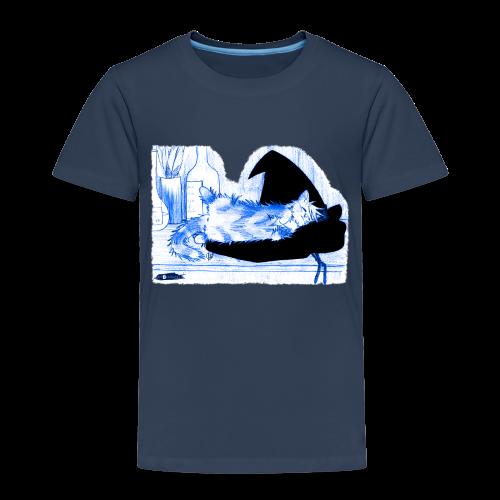 Tyrrin Hexenkater auf Hut (blau) - Kinder Premium T-Shirt