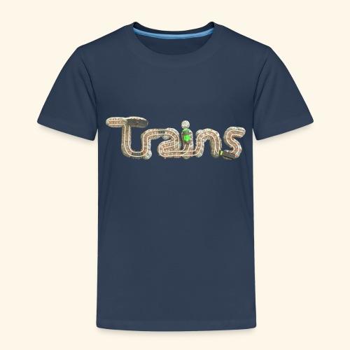 Colourful eagle eye's view of model trains - Kids' Premium T-Shirt