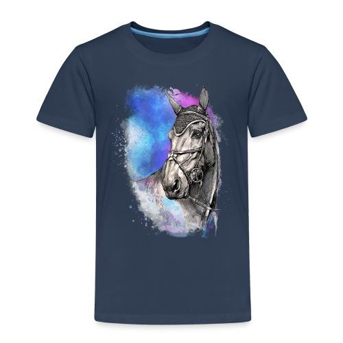 KOŃ GŁOWA akwarela z koniem horse - Koszulka dziecięca Premium