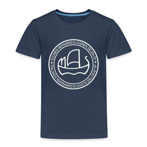 Suomen meriarkeologisen seuran valkoinen logo - Lasten premium t-paita