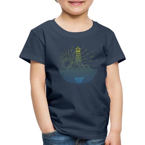 Leuchtturm mit Sonne am Meer - Kinder Premium T-Shirt