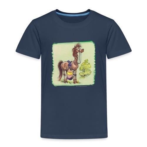Thelwell Cartoon Reiter fällt runter - Kinder Premium T-Shirt