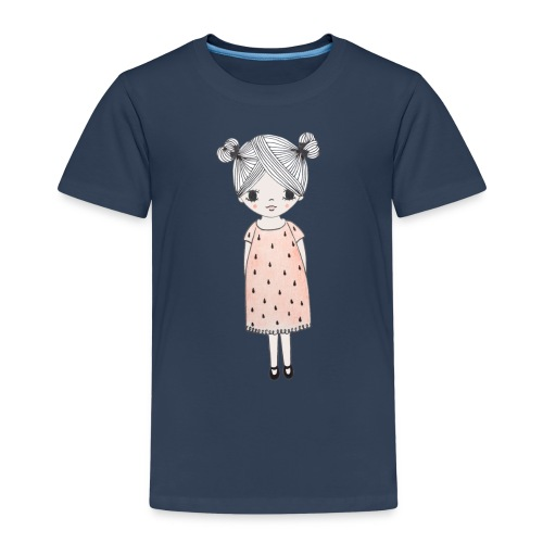 lachend meisje met knotjes - Kinderen Premium T-shirt