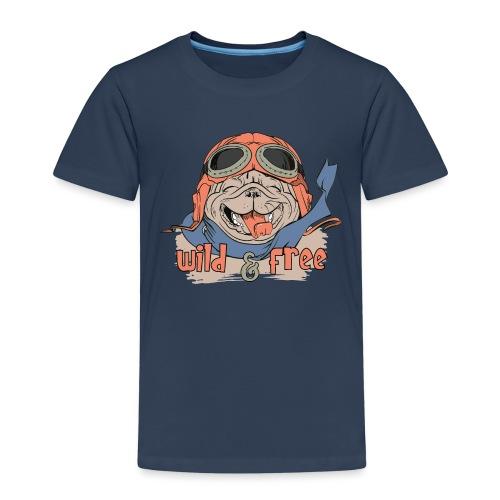 Wild & Free: Happy Pug Flier Freedom - Kids' Premium T-Shirt
