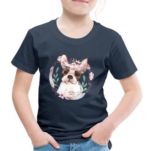 French Bully Flowers - Französische Bulldogge - Kinder Premium T-Shirt