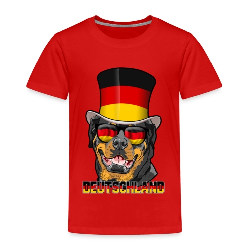 Cooler Deutschland Rottweiler mit Hut und Brille - Kinder Premium T-Shirt