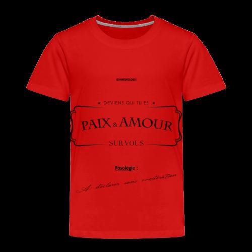 Aller Plus H4ut - Paix & Amour - Noir - T-shirt Premium Enfant
