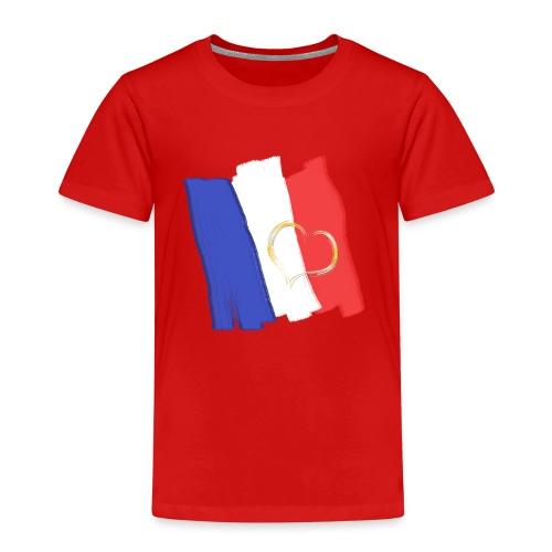 Frankreich Fahne mit Herz Nation Sport Fanshirt - Kinder Premium T-Shirt