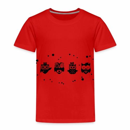 Kleine lustige Eulen - Schwarz / Weiß - Kinder Premium T-Shirt
