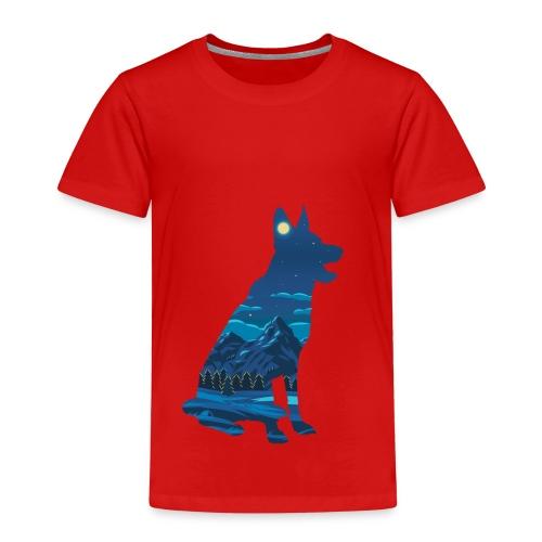 Hund bei Nacht in den Bergen - Kinder Premium T-Shirt