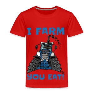 I farm you eat blauw - Kinderen Premium T-shirt