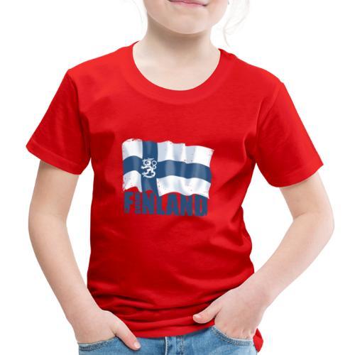 01-SUOMI LEIJONALIPPU - FINLAND LION FLAG - Lasten premium t-paita