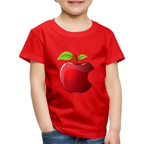 Symbol roter Apfel mit 2 Blätter glänzend - Kinder Premium T-Shirt