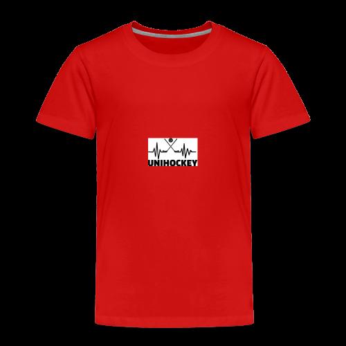 heartbeat pulse line two crossed floorball sticks - Kinder Premium T-Shirt