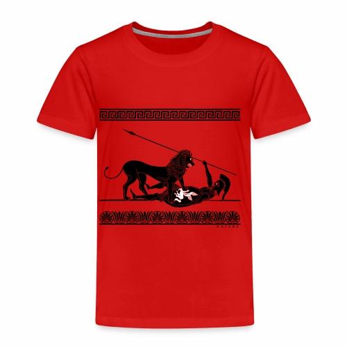 Hoplit und Löwe (schwarz auf rot) - Kinder Premium T-Shirt