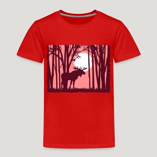 Sonnenuntergang, Elch im Wald, Moose in the woods - Kinder Premium T-Shirt