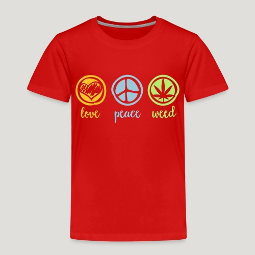Cannabis Love and Peace and Weed Marihuana Dope - Kinder Premium T-Shirt