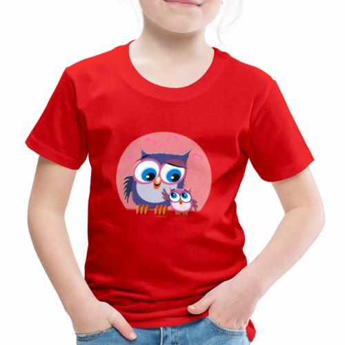10-31 OWLS LOVE - PÖLLÖT, Äiti ja lapsipöllö - Lasten premium t-paita